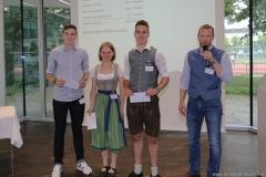 Matthias Zellner, Dorothea Schiffmann, Lennart Dege, Dr. Andreas Brandl (von li. nach re.), Brauermeisterschaft in der Berufsschule für Brauwesen in München 2018